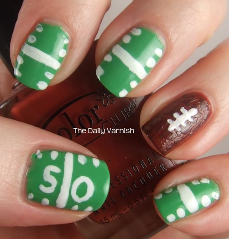 Super Bowl nail art for Seahawks and Patriots fans - TODAY.com
