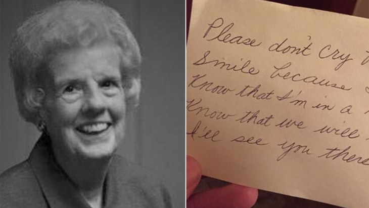 The incredible note a wife left for her husband to find after she died