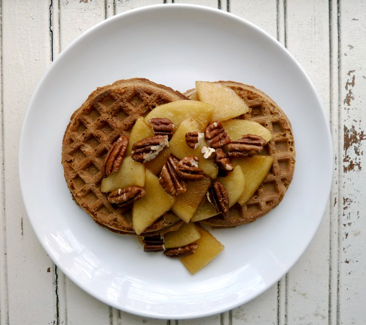 Waffles with apples and pecans
