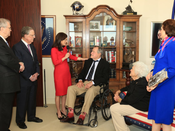 While accepting an award from the Lyndon B. Johnson Foundation in Houston on Tuesday, former president and noted sock man George H.W. Bush sported a pair given to him by a fan that have his own face on them.