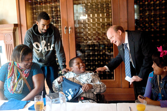 Charvis Brewer, 8, was astonished when Grizzlies announcer Pete Pranica burst into a Memphis restaurant on Sunday and told the Brewer family that Charvis had been drafted by the team.