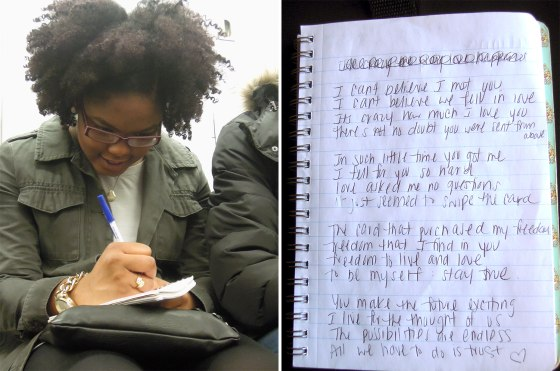 Breanna Chevolleau writes a poem about how she is in love.