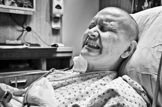 Image: Jennifer Merendino in extreme pain at hospital