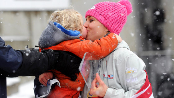Pikus-Pace kisses her son Traycen after winning the women's Skeleton World Cup in Koenigssee near Berchtesgaden, Germany, on January 24.