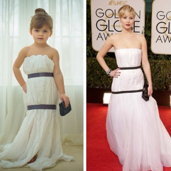 Channeling Jennifer Lawrence's Golden Globes dress.