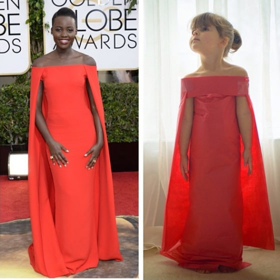 Among Mayhem's favorites is the red dress actress Lupita Nyong'o wore at the Golden Globes, which took 10 minutes to make.