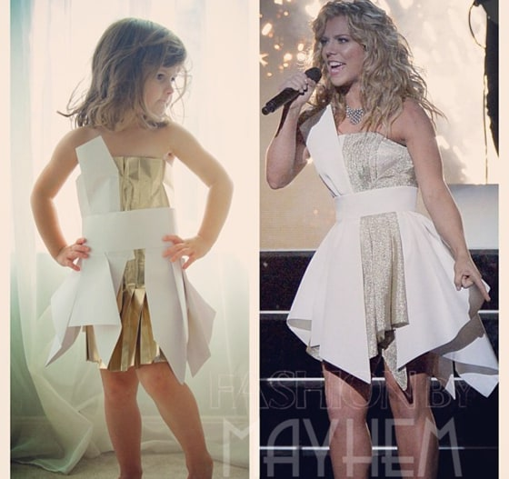A copy of a dress worn by singer Kimberly Perry at the Country Music Awards.