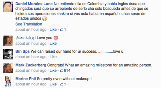 Facebook founder Mark Zuckerberg congratulated Shakira on making history.