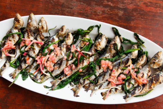 Grilled sardines with ramps