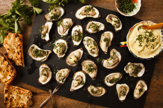 Grilled oysters with wasabi mayo