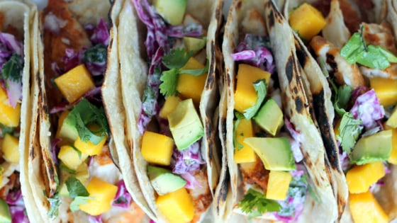 Grilled chili-lime fish tacos