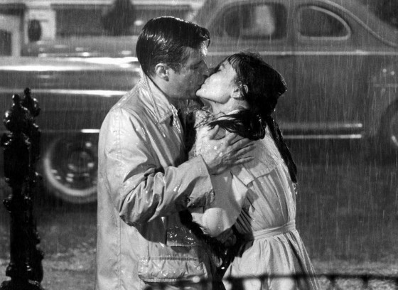 "George Peppard and Audrey Hepburn in 1961's ""Breakfast at Tiffany's."""