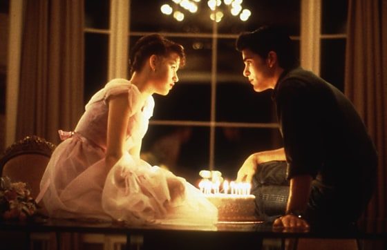 "Molly Ringwald and Michael Schoeffling in 1984's ""Sixteen Candles."""