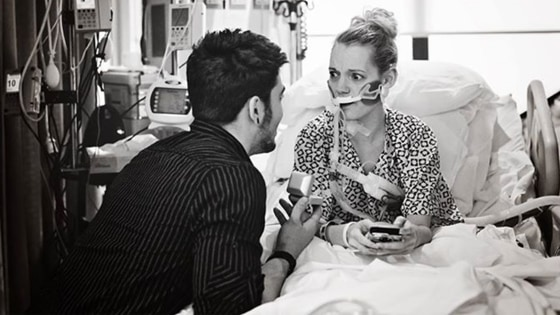 Ashley Campbell in the hospital with Ryan Denkenberger