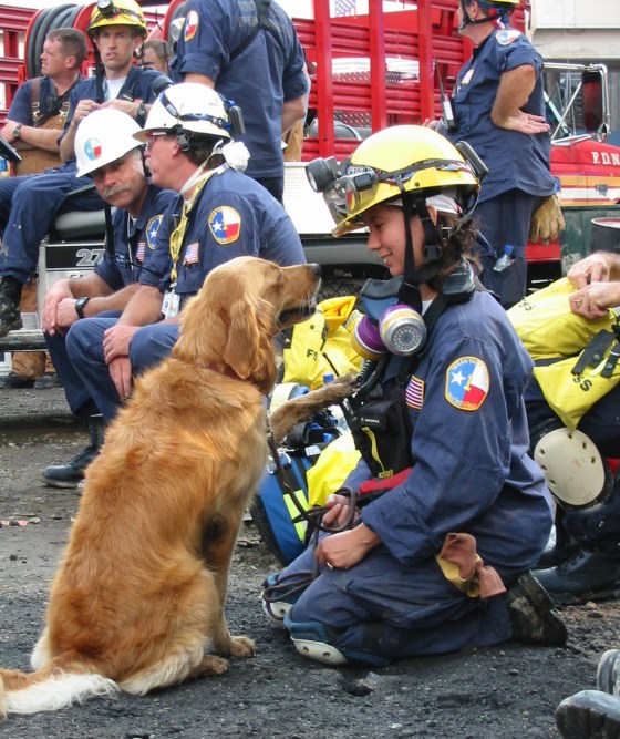 Bretagne the search dog and Denise Corliss at Ground Zero in September 2001.