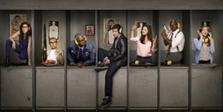 "The cast of ""Brooklyn Nine-Nine:""  L-R: Stephanie Beatriz, Joe Lo Truglio, Andre Braugher, Andy Samberg, Melissa Fumero,Terry Crews and Chelsea Peretti."
