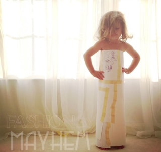 The first dress Mayhem made, with paper and masking tape.