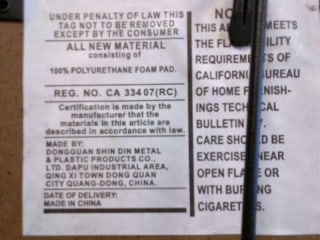 This is the label on the table and chair sets that Wal-Mart is recalling because of the risk for collapse and injury.