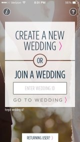 A screen shot of the Wedpics iPhone app.