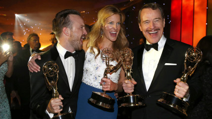 Image: Aaron Paul, Anna Gunn and Bryan Cranston attend the Governors Ball for the 66th Primetime Emmy Awards in Los Angeles