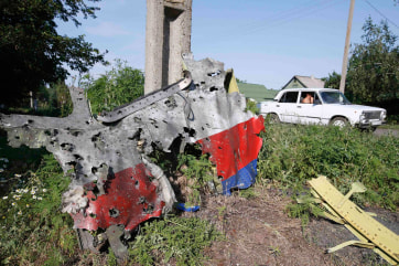 Image: A piece of the wreckage is seen at a crash site of the Malaysia Airlines Flight MH17 in the village of Petropavlivka (Petropavlovka), Donetsk region