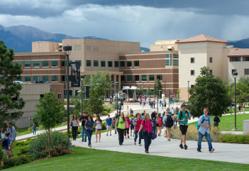 Image: Students walk between classes at the University of Colorado at Colorado Springs on Aug. 28, 2014, during their first week of the fall semester.