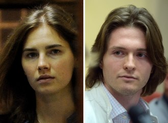 Image: A combination of two pictures shows Italian Raffaele Sollecito (R) during a press conference on July 1st, 2014 in Rome and Amanda Knox, US national accused with former lover Sollecito of the 2007 murder of her housemate Meredith Kerche
