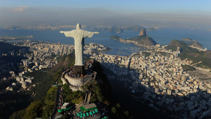 RIO DE JANEIRO, BRAZIL - JULY 27:  An arial view of the 'Christ the Redeemer' statue on top of Corcovado mountain on July 27, 2011 in Rio de Janeiro, ...