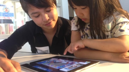Charlotte Mao, Launchpad Toys Designer, and Jovanna Chen, age 4, at the San Francisco Children's Creativity Museum