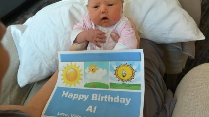 Baby Vale, with the help of mom, Savannah Guthrie, wishes Al Roker a very happy 60th birthday.