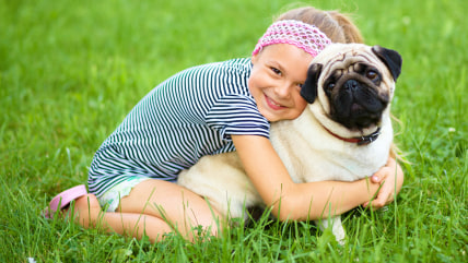Little girl and her pug dog on green grass, outdoor shoo