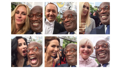 Al takes selfies with celebrites at the Emmys