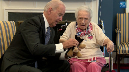 Vice President Joe Biden charmed 108-year-old war veteran Lucy Coffey at the White House recently, including giving her a stuffed dog in homage to his own dog.