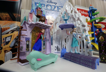 This Oct. 1, 2014 photo shows Disney's Frozen Castle & Ice Palace Playset at the TTPM Holiday Showcase, in New York.