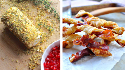 Instant Holiday Appetizers: Goat Cheese Log and Prosciutto Straws
