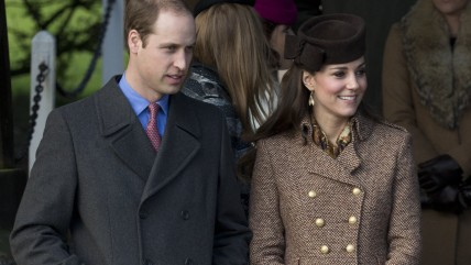 Britain's Prince William and his wife Kate Duchess of Cambridge leave after attending the Briti