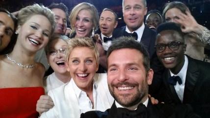 This image released by Ellen DeGeneres shows actors front row from left, Jared Leto, Jennifer Lawrence, Meryl Streep, Ellen DeGeneres, Bradley Cooper,...