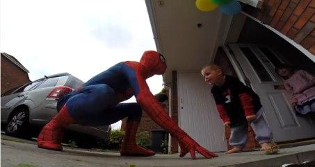 Jayden Wilson got to meet his hero, Spider Man, when his dad Mike Wilson dressed as the part.