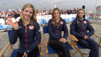 U.S. figure skaters Gracie Gold, Ashley Wagner, and Polina Edmunds