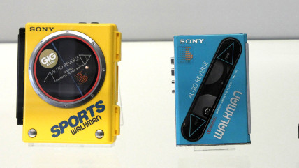 Sony's Walkman models, portable cassette players which were produced in 1980's and 1990's are displayed at Sony's history museum in Tokyo February 23,...