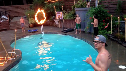 Pool dunk through fire.
