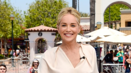 "UNIVERSAL CITY, CA - JULY 09:  Sharon Stone visits ""Extra"" at Universal Studios Hollywood on July 9, 2014 in Universal City, California.  (Photo by No..."