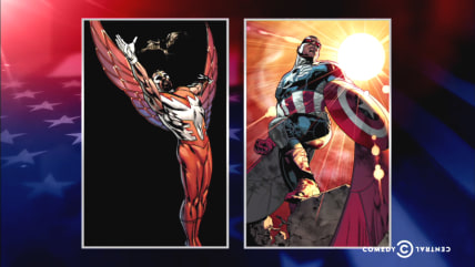 Image: The Falcon and The Falcon as Captain America.