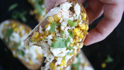 Mexican street corn crostini