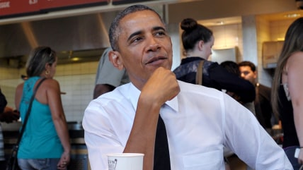 US President Barack Obama stops for lunch at a Chipotle Mexican Grill restaurant before attending the White House Summit on Working Families on June 2...