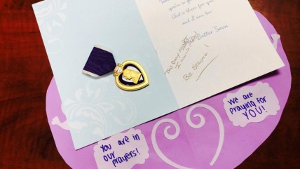 An anonymous veteran sent a Purple Heart to a wounded Wisconsin 12-year-old girl, along with a note reading, 'The only heart I could find. Be strong!'