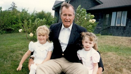 George H. W. Bush with granddaughters Jenna and Barbara.