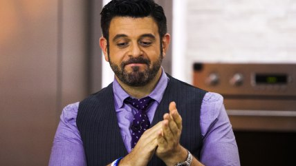 Adam Richman tastes viewers' submitted recipes alongside Hoda Kotb and Kathy Lee Gifford on the TODAY show in New York, on July 22.