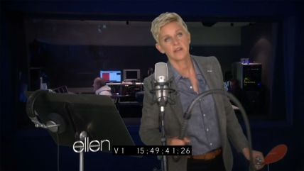 "IMAGE: Ellen DeGeneres reads ""Fifty Shades of Grey"""