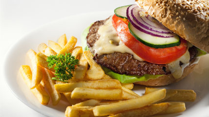 Hamburger with vegetables on plate.